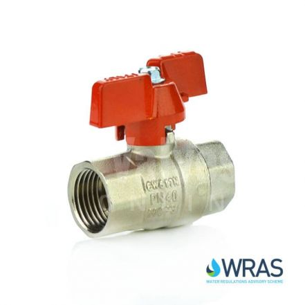 WRAS Approved Brass Ball Valve - Red Butterfly Handle
