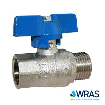 WRAS Approved Male x Female Brass Ball Valve - Blue Butterfly Lever