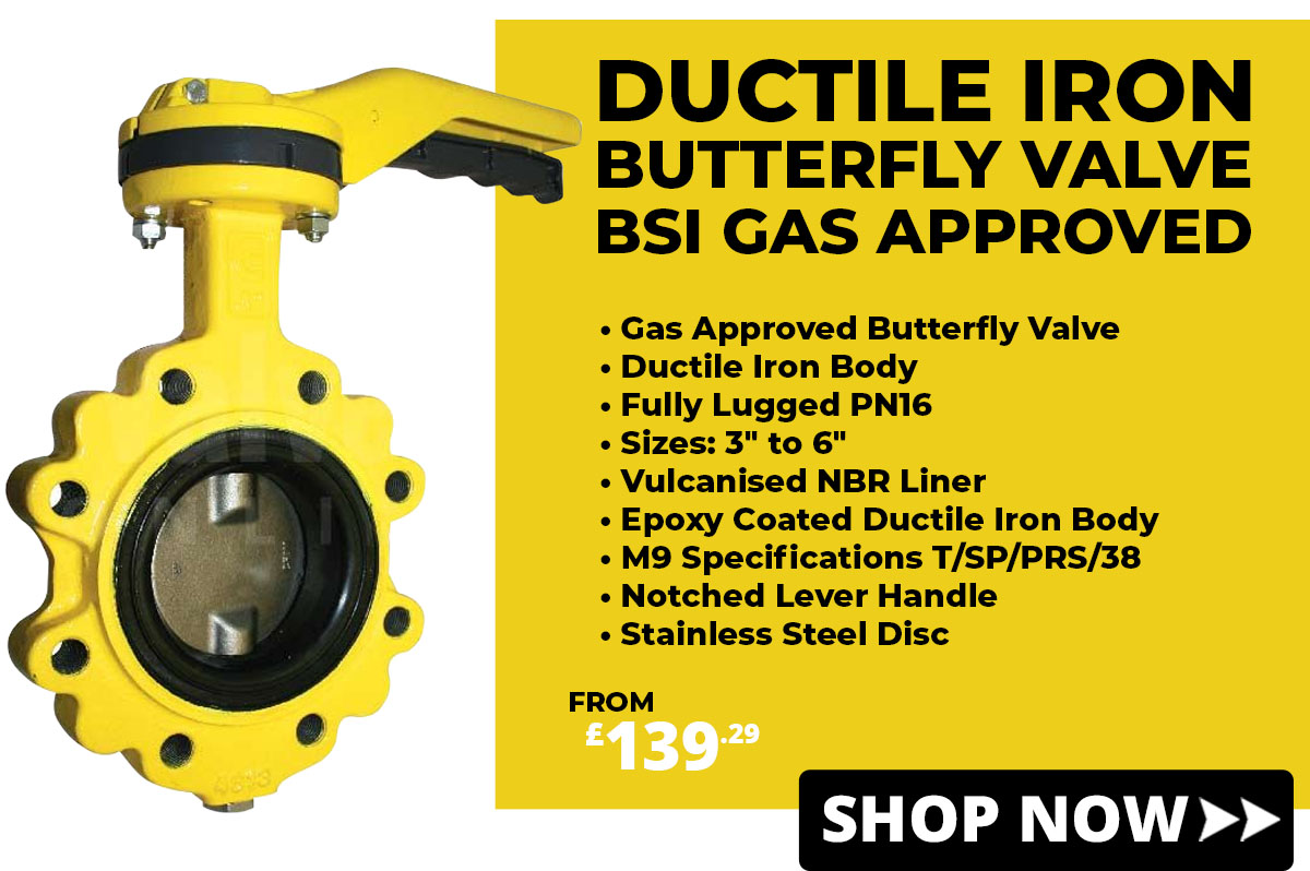 Ductile Iron Butterfly Valves Gas Approved
