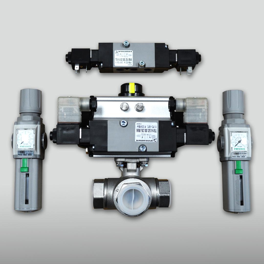 three way pneumatic actuated ball valve
