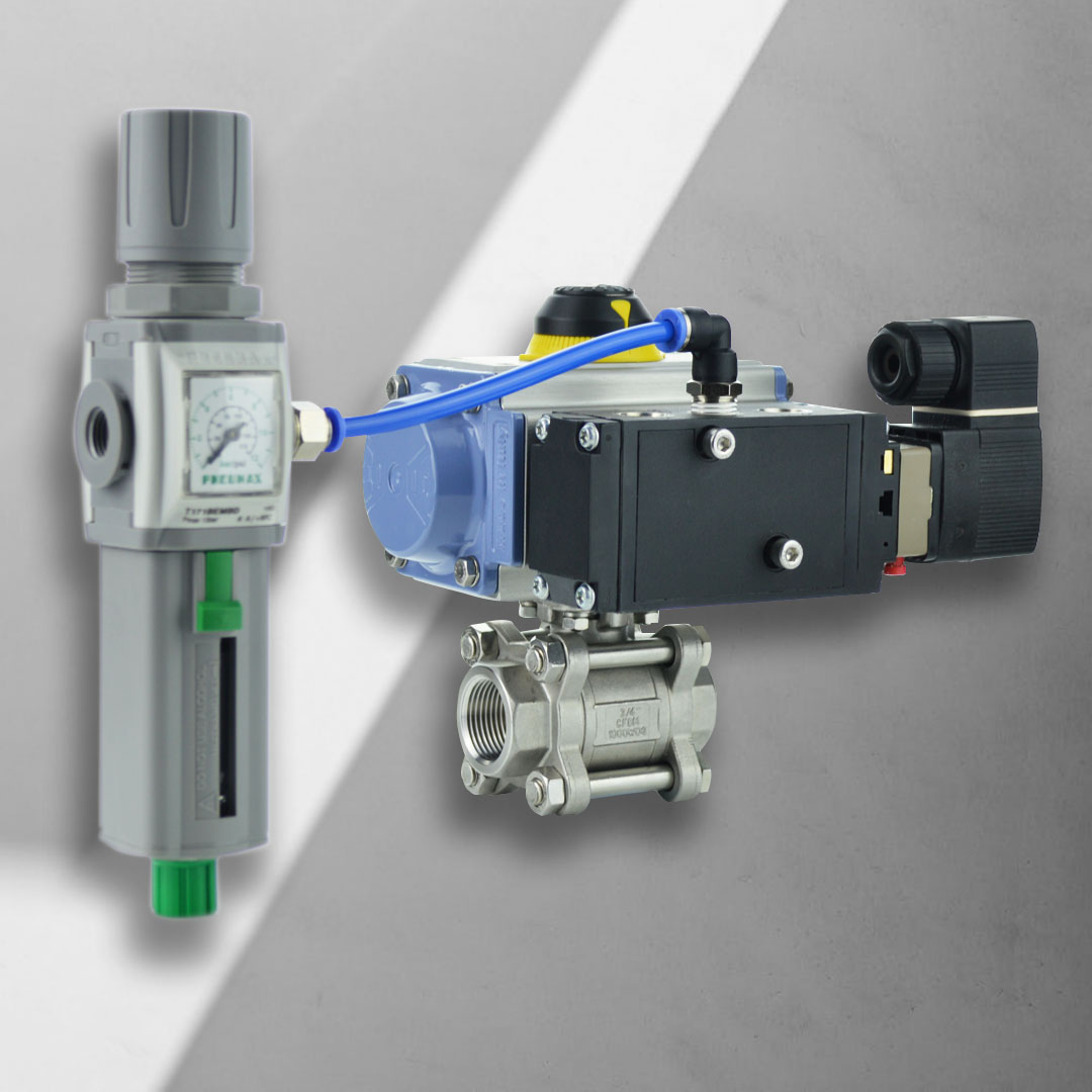 Actuated ball valve with solenoid and filter regulator